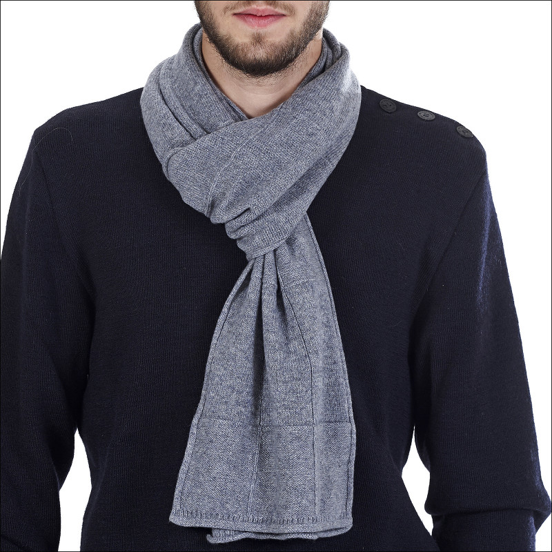 Écharpe classique 100% cachemire homme - gris