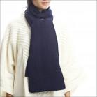 Écharpe classique 100% cachemire femme - bleu marine