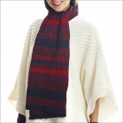 Écharpe jacquard fantaisie pure laine femme - prune
