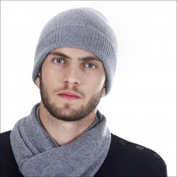 Bonnet classique 100% cachemire homme - gris