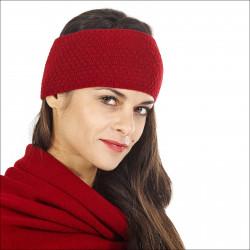 Bandeau hiver pure laine femme - rouge
