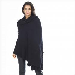 Grand châle 100% laine femme - noir