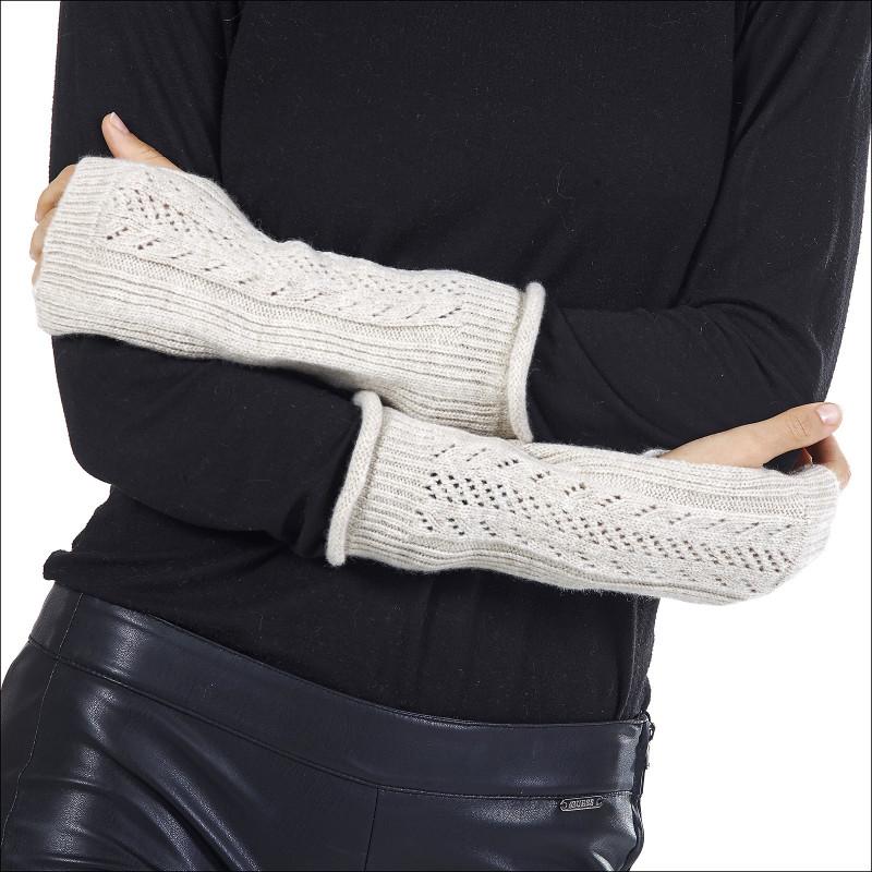 Mitaines fantaisie 100% laine femme - écru