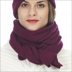 Écharpe maille fine 100% laine mérinos baby femme - prune