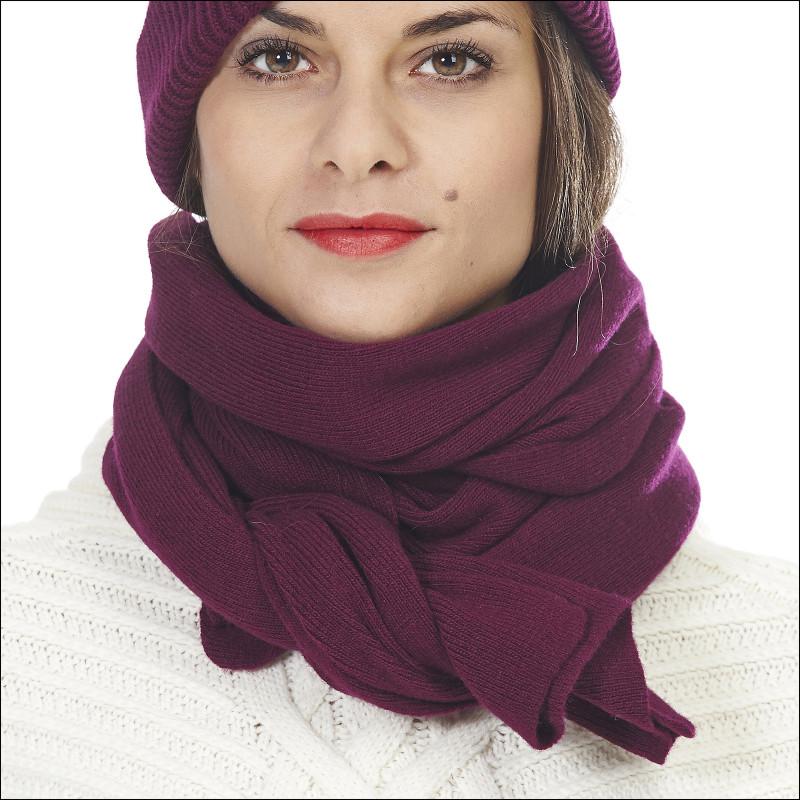 163fc06ee26 Écharpe maille fine 100% laine mérinos baby femme - prune