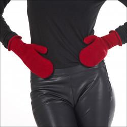 Moufles 100% laine femme - rouge