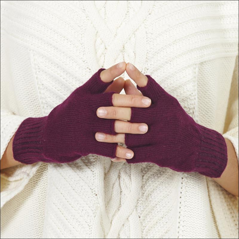 Mitaines classiques 100% laine femme - prune