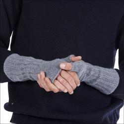 Mitaines longues 100% cachemire homme - gris