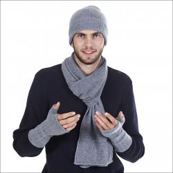 Ensemble classique 100% cachemire homme bonnet écharpe mitaines - gris