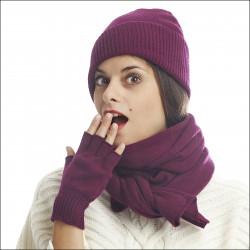 Ensemble classique bonnet mitaines écharpe bohème pure laine femme - prune