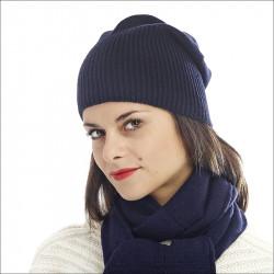 Bonnet classique 100% cachemire femme - bleu marine