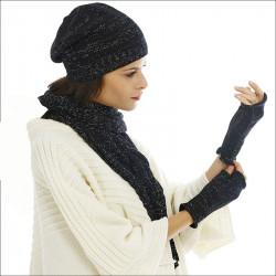 Thème cachemire brillant noir bonnet écharpe mitaines - noir