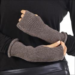 Mitaines 100% cachemire femme sans doigt - marron