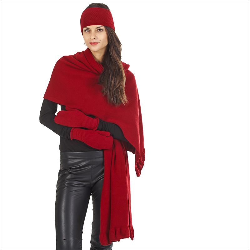 Thème étole bandeau moufles pure laine - rouge