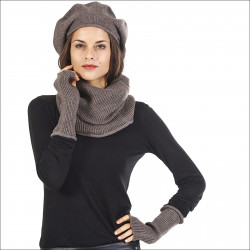 Ensemble élégance cachemire femme béret snood mitaines - marron
