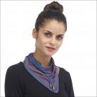 Petit foulard tour de cou soie - Bleu col vert / Framboise