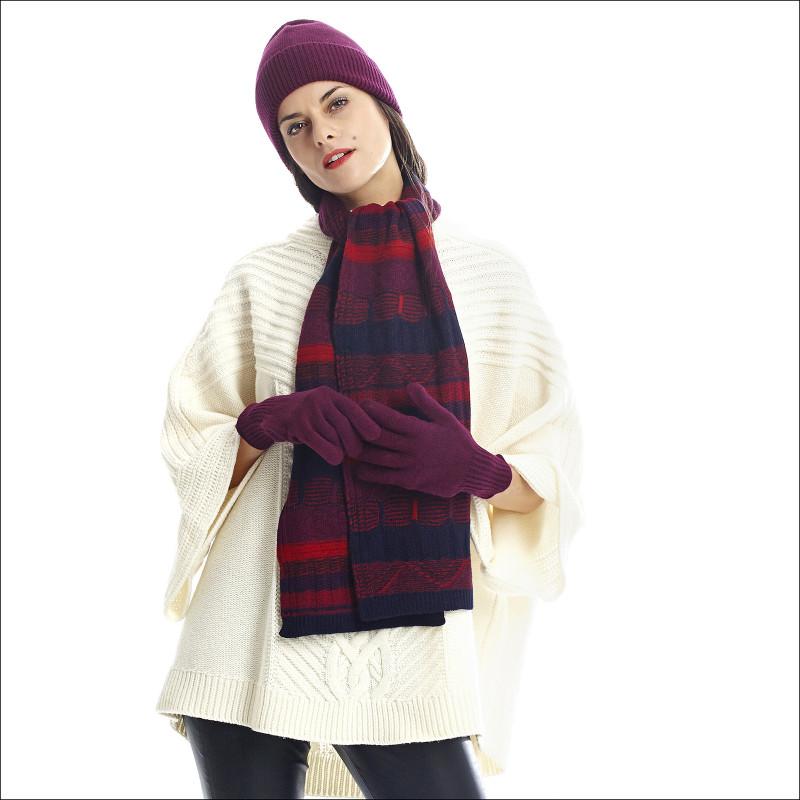 Ensemble jacquards pure laine femme - prune