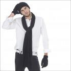 L'indispensable ensemble pure laine bonnet écharpe gants homme - noir