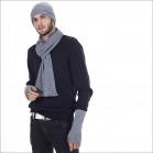 Ensemble classique cachemire homme bonnet écharpe mitaines - gris