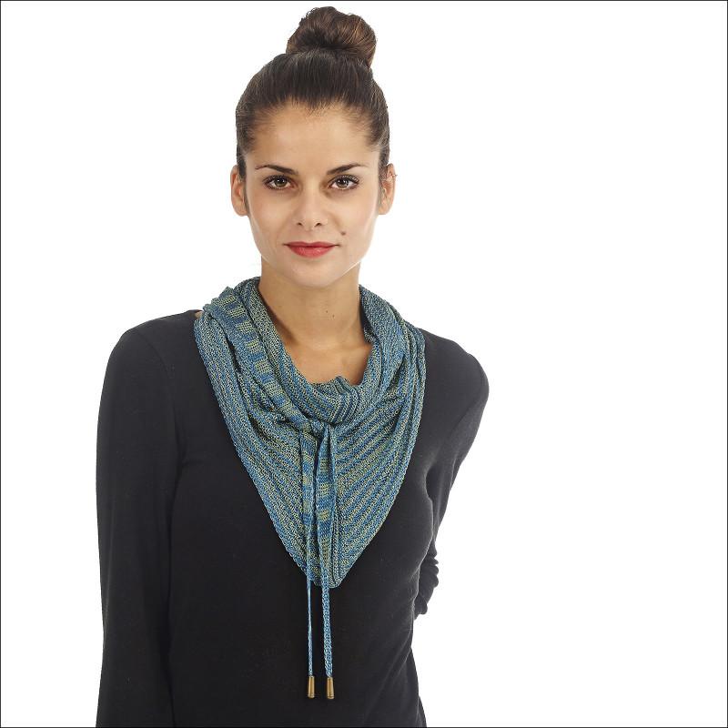 Fichu femme 100% soie - Bleu col vert / Vert