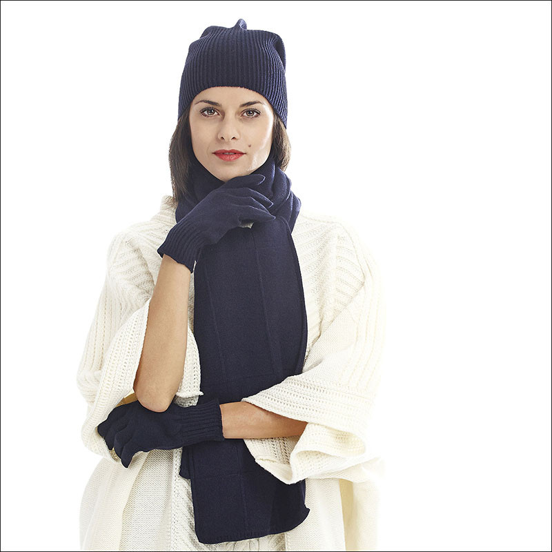 Ensemble classique cachemire femme bonnet gants écharpe - bleu marine