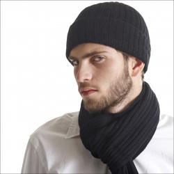 Bonnet épais 100% cachemire homme - noir